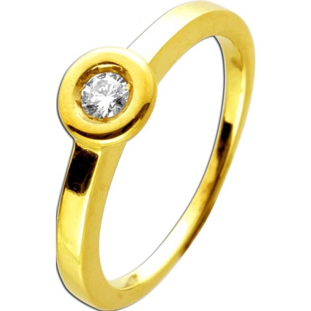 Ring Gelbgold 585 mit 1Diamant im Brillatschliff 0,10ct TW / Lupenrein Trauring Verlobungsring 16mm