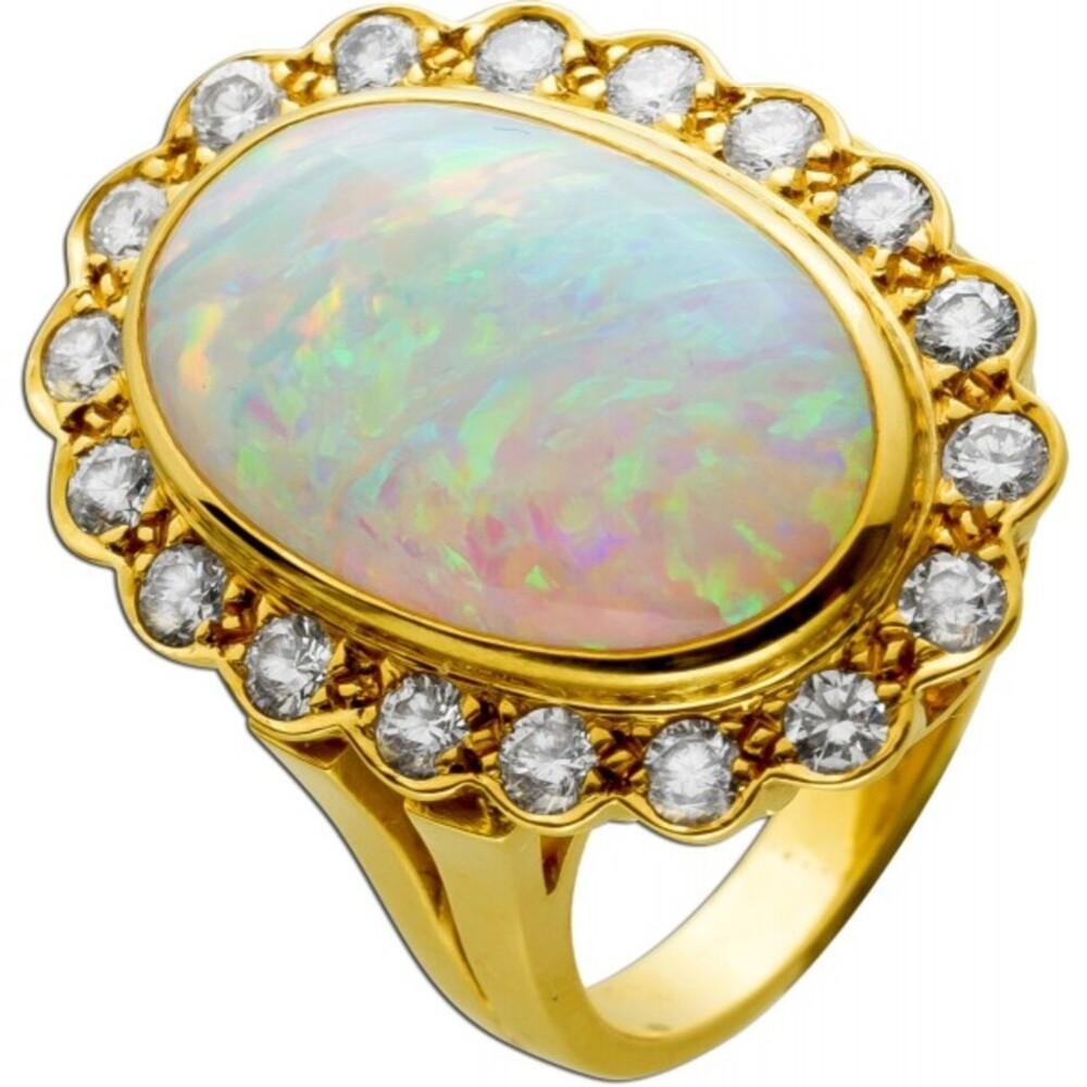 Ring Gelbgold 750 18 Karat 1 Opal Edelstein cirka 7,5ct 18 Brillanten Lupenrein bis VVS feines weiß 18mm Rarität Sammlerstück-1