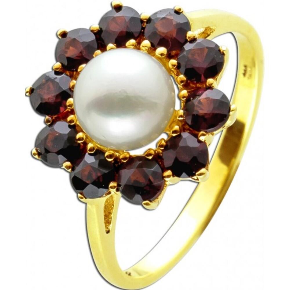 Antiker Granat Edelstein Perlen Ring Gelbgold 333 8 Karat 11 böhmische rot leuchtende Granat Edelsteine 1 japanische Akoya Perle 17mm