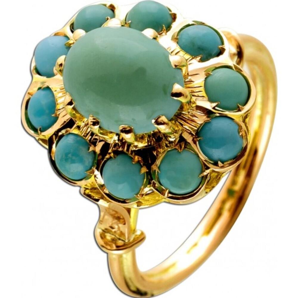Antiker persischer Türkis Edelstein Ring 585 14 Karat Gelbgold Rosegold 11 feine Türkis Edelsteine Vintage um 1900 17mm