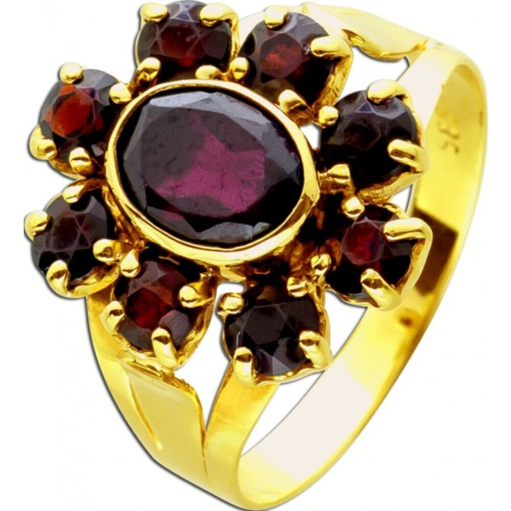 Antiker Ring um 1920 Top Zustand Gelbgold 585 14 Karat 9 böhmischen Granat Edelsteine