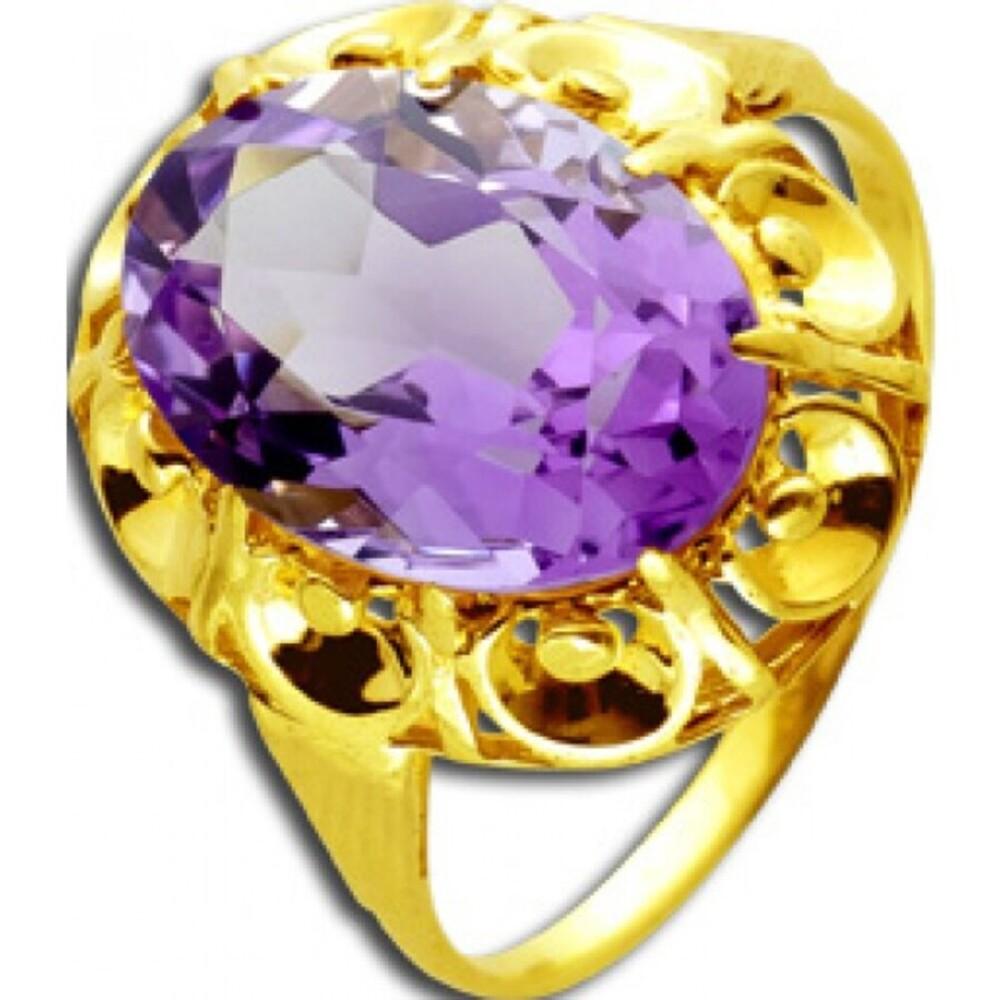 Antiker Ring um 1880 Top Zustand Gelbgold 333 8 Karat 1 echter Amethyst Edelstein