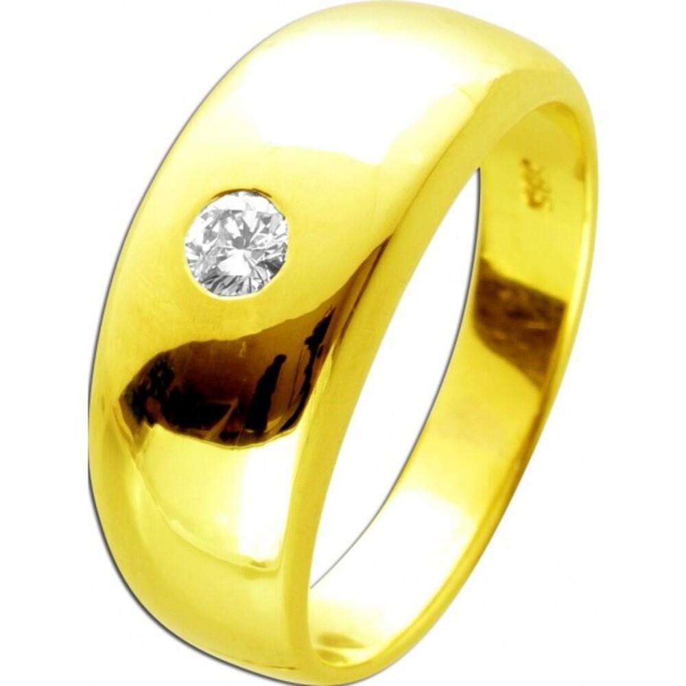 Solitärring mit 1 Diamant Gelbgold 585 14 Karat Brillantschliff 0,15ctW/J1 Brillantring