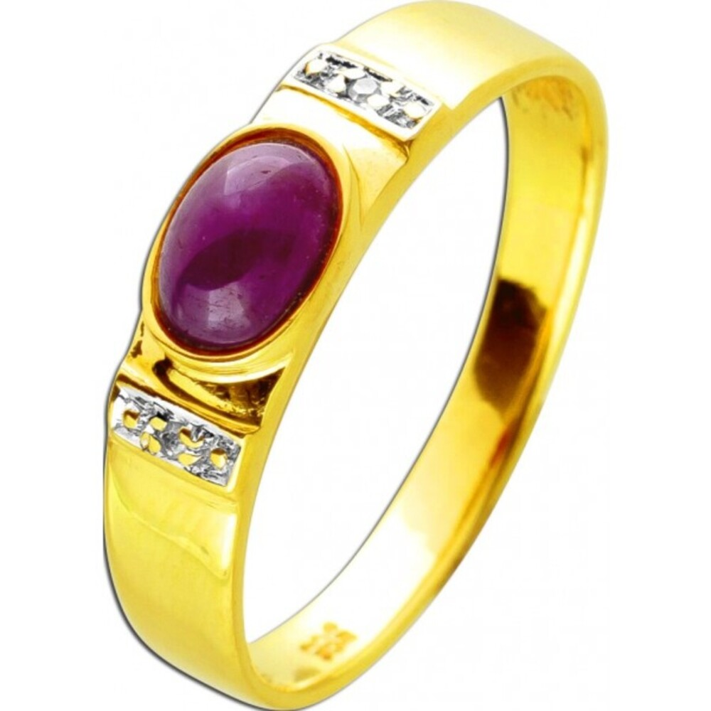Antiker Ring um 1970 Gelbgold 585 14 Karat 2 Diamanten 8/8W/J1 Total 0,02ct 1Rubin Edelstein
