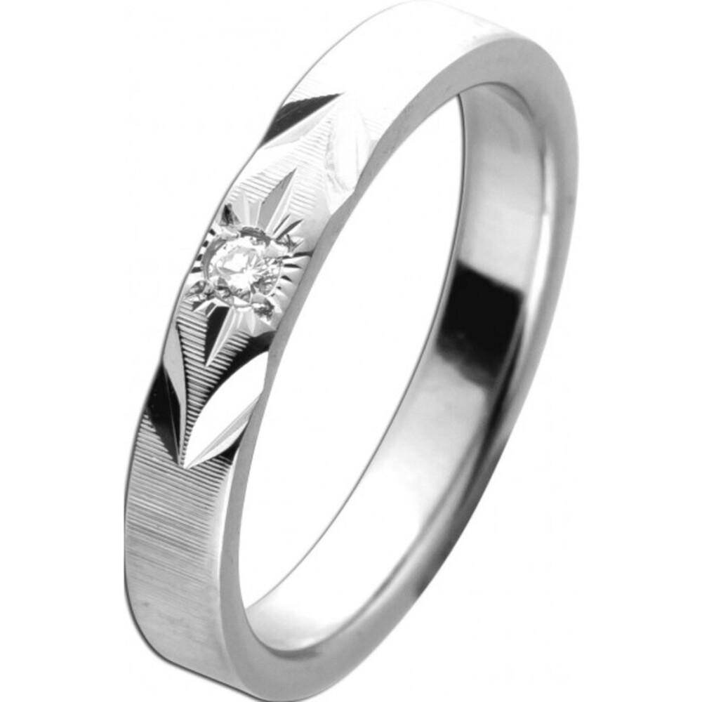 Antiker Ring um 1960 Top-Zustand Weißgold 585 14 Karat mit 1 Brillant TW/VSI 14 Karat