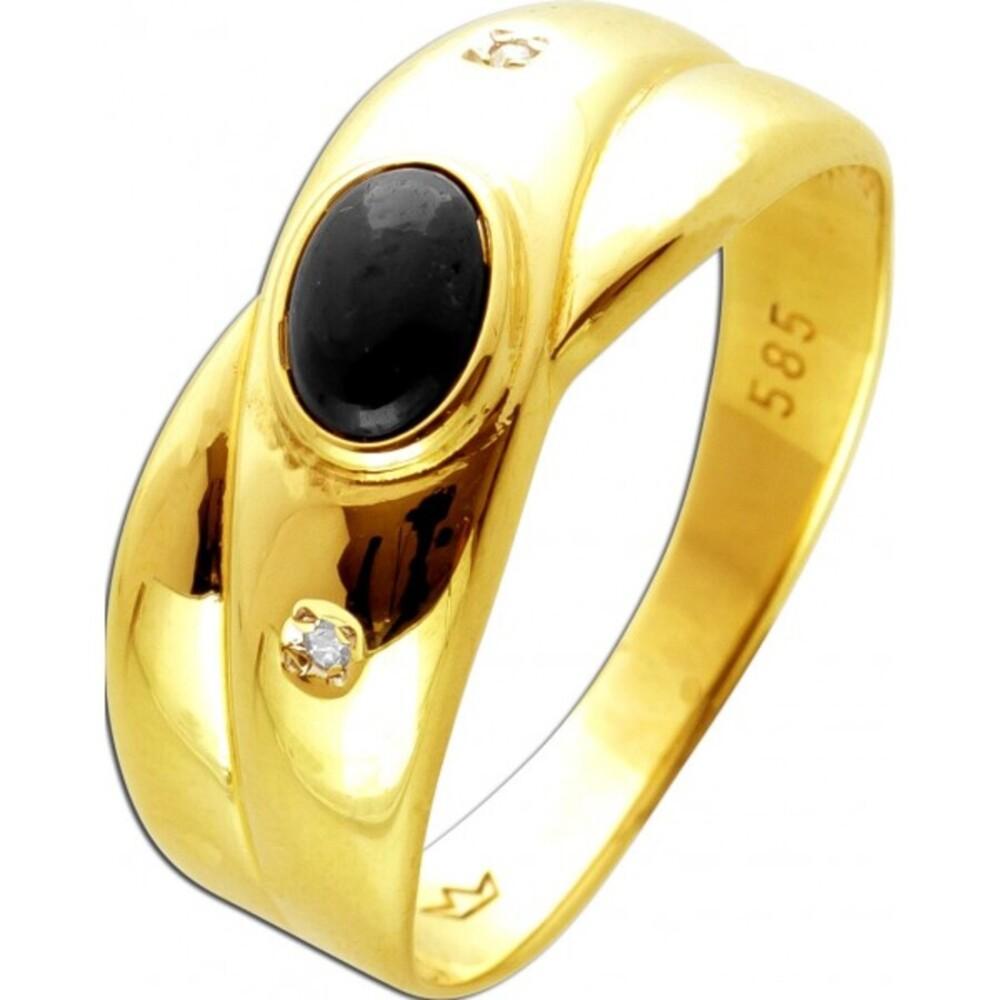 Antiker Ring um 1980 Top-Zustand Gelbgold 585 mit 2 Diamanten je 0,01ct W/J18/8 1 Saphir Edelstein 14 Karat