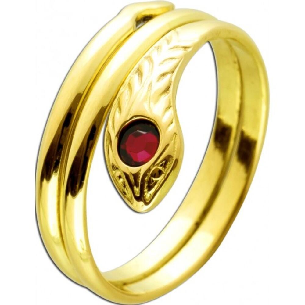 Antiker Ring um 1960 Gelbgold 750 18 Karat Schlangen Design syntetische Rubin Edelsteine 17mm