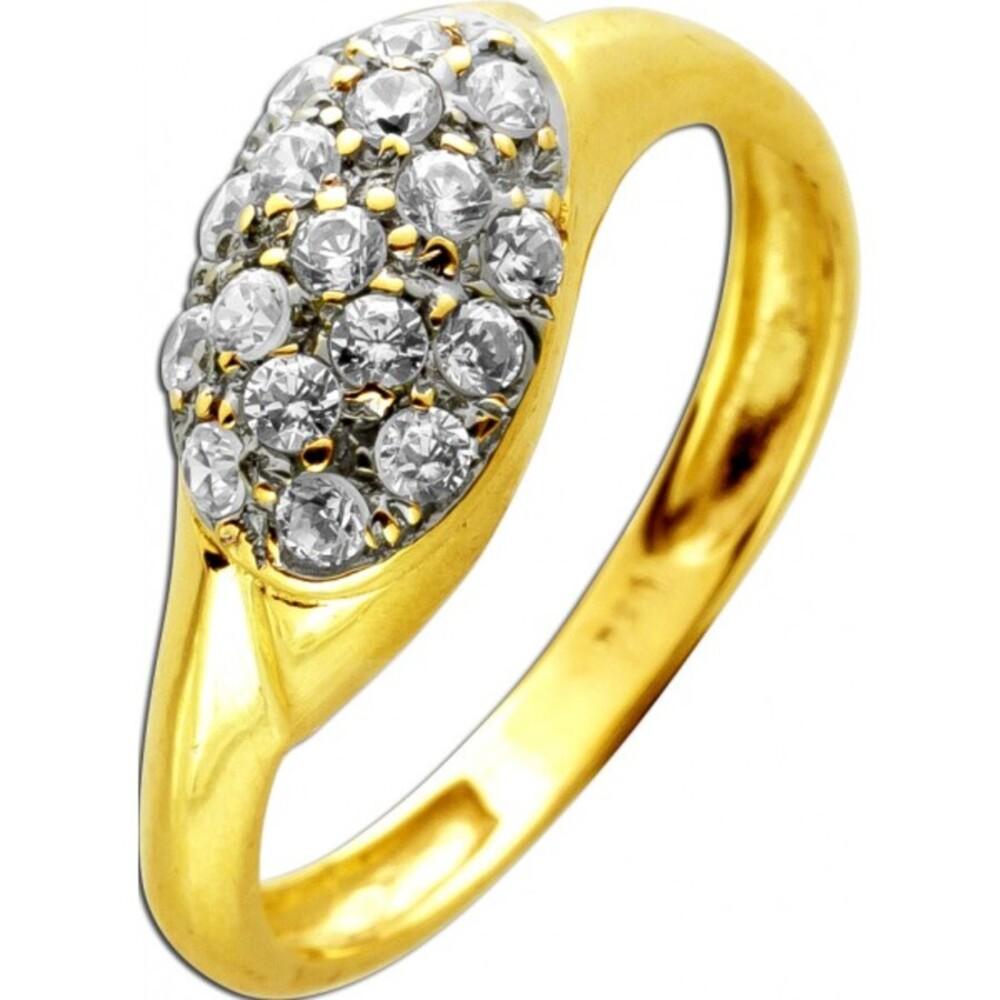 Designer Ring 18 Karat 750 Gelbgold Weißgold 17 Zirkonia Brillantschliff 17mm