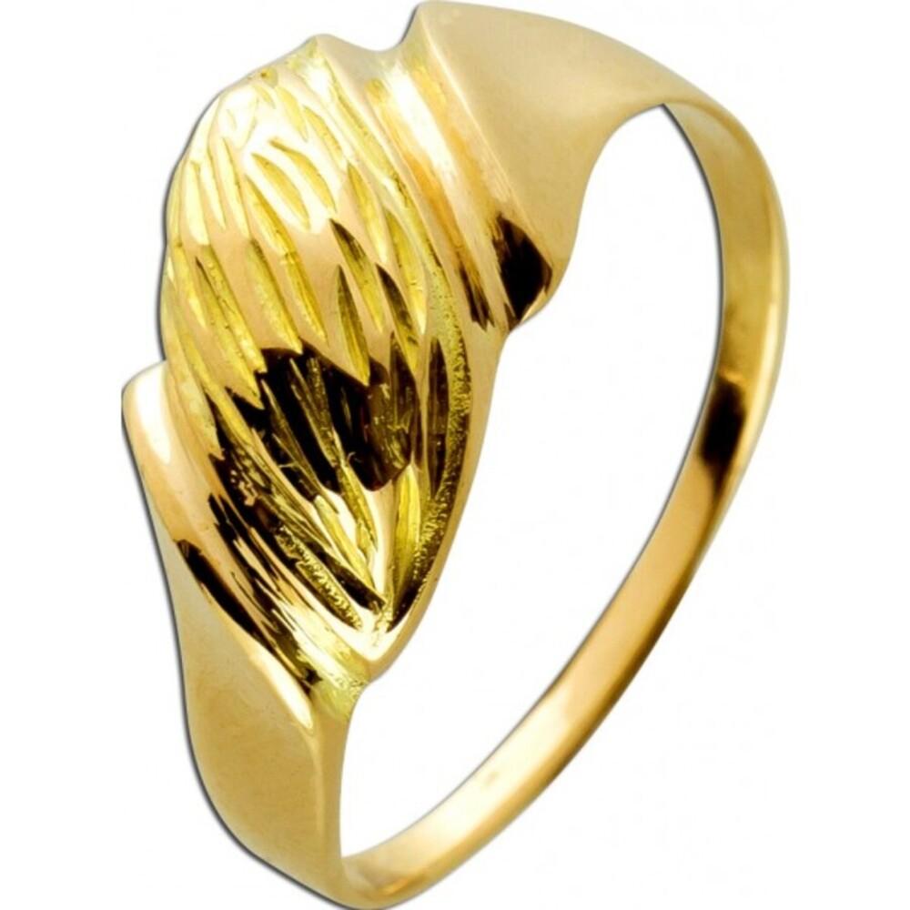 Designerring 18 Karat 750 Gelbgold gehämmerte polierte Anteile Lapponia Optik 17mm