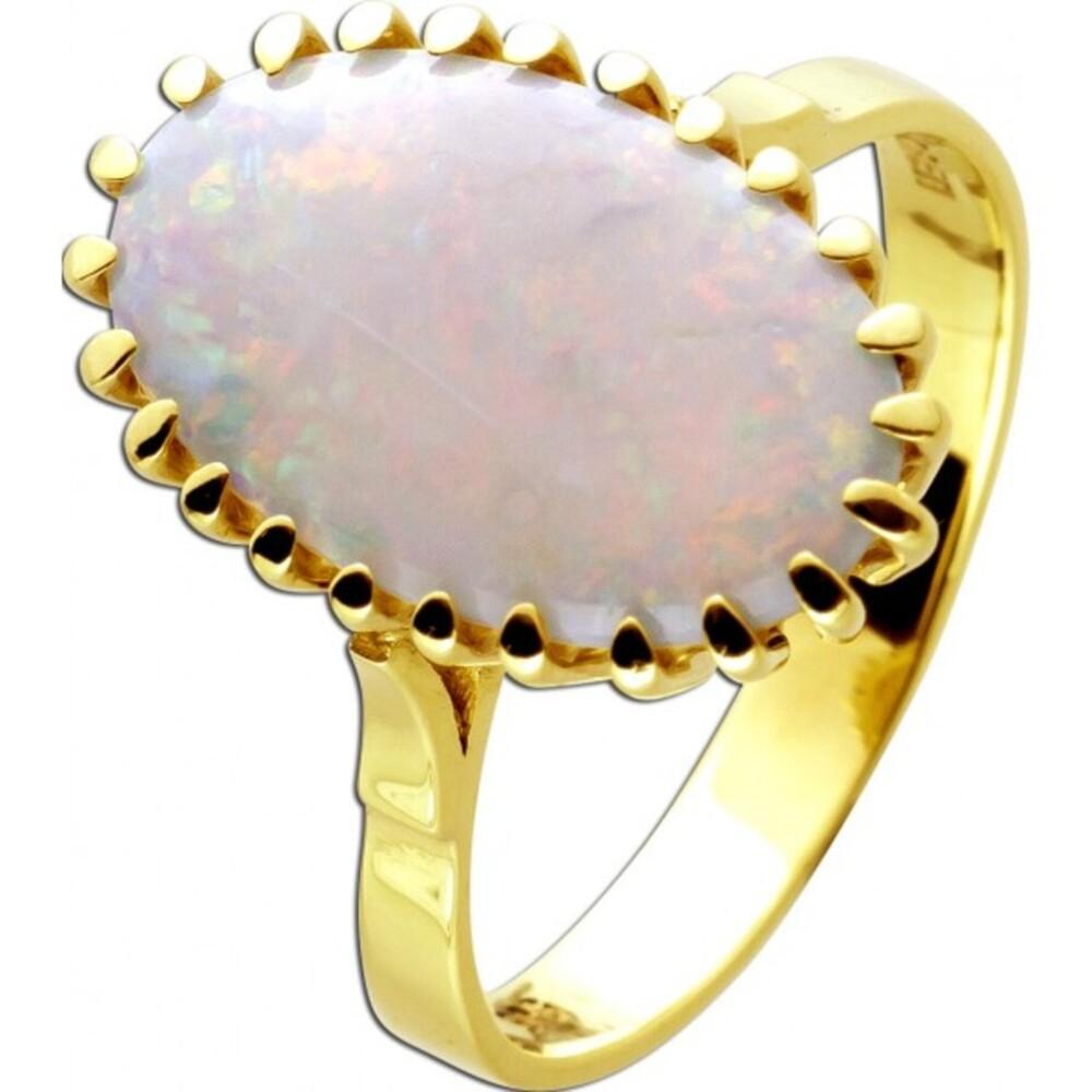 Antiker Australischer Opal Edelstein Ring Gelbgold 14 Karat 585 Vollpopal Cabochon um 1960 ungetragen 20mm-1