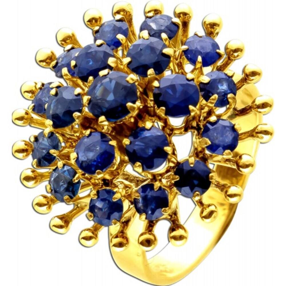 Antiker Ring um 1930 Cocktailring Blütenform 21 echte Saphir Edelsteine Gelbgold 585 14 Karat 17mm-1