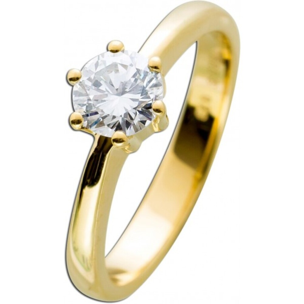 Diamantring Gold 585 Brillant 0,73ct TW G / VVS1 IGI Zertifikat