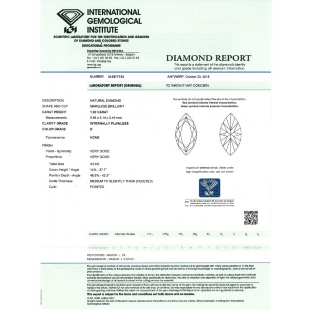Ungefasster Navette MARQUISE Diamant 1,02ct River / Lupenrein