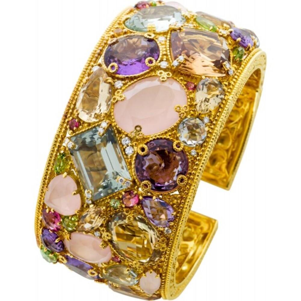 Judith Ripka Edelstein Armreif Gelbgold 750/- Multicolor Diamanten Brillanten 0,33ct TW/VVSI1