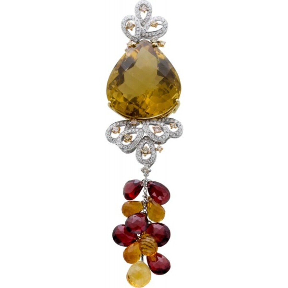 Edelstein Kettenanhänger Weiss/Gelbgold 750/- Citrin Diamant Brillant roter Granat _01
