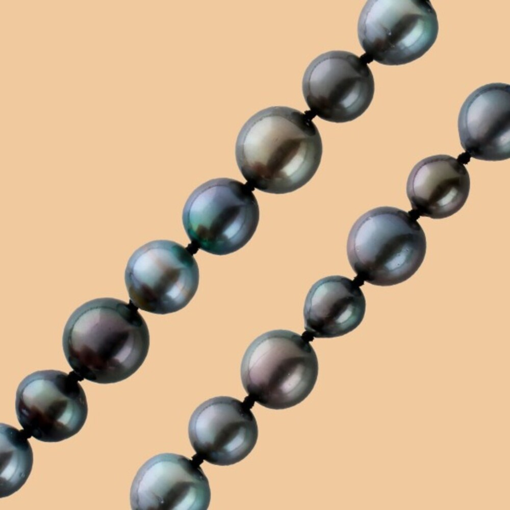 Tahiti Perlenkette fast ganz rund schwarz anthrazit Farben fast keine Einschlüsse im Verlauf Silber 925 Karabiner mit Görg Zertifikat