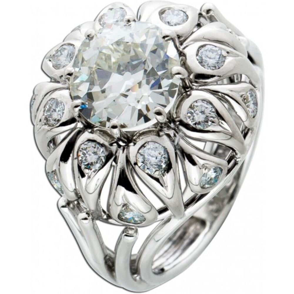 Antiker Ring Weissgold 750 Altschliff Diamant 2,6ct Crystal/VSI Brillanten 0,80ct TW-W/VVSI-SI Gr. 17,2mm Top Zustand DGI Zertifikat-4