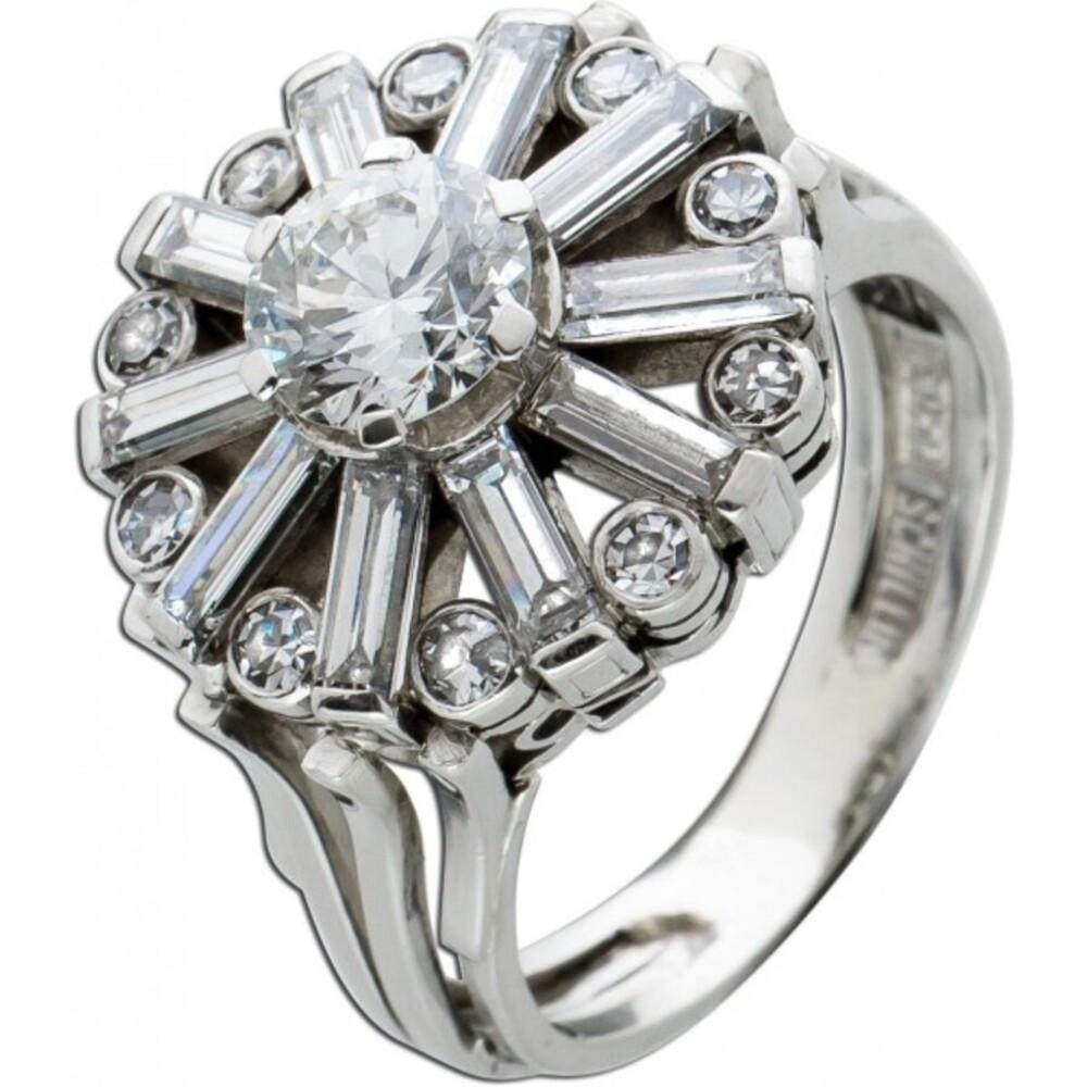 Antiker Diamant Ring Platin 950 Brillant 0,96ct W/SI2 Diamant Baguettes, Gr. 17,2mm Top Zustand DGI Zertifikat