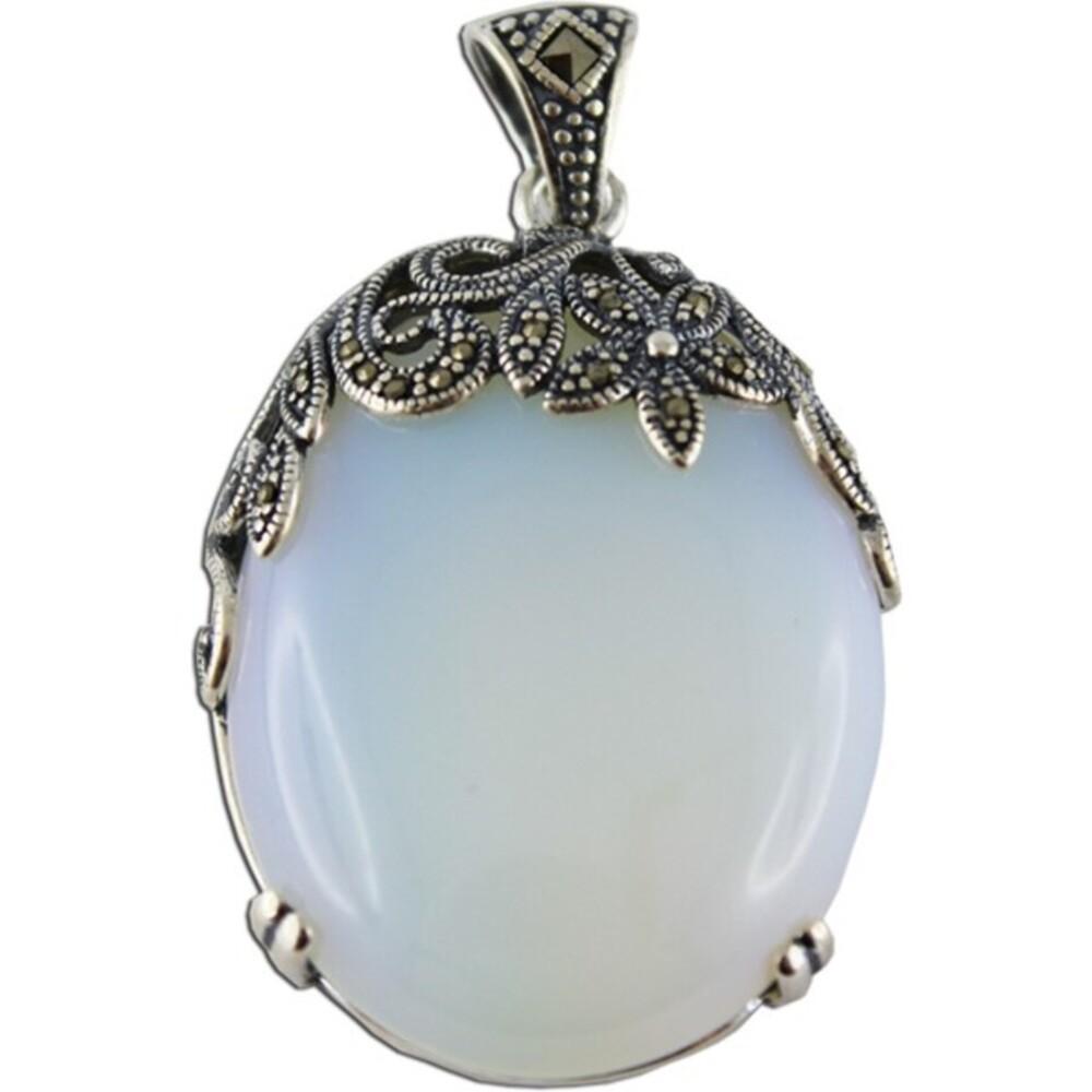 Mondsteinanhänger blau weiß Markasit Sterling Silber 925 synthetisch 1