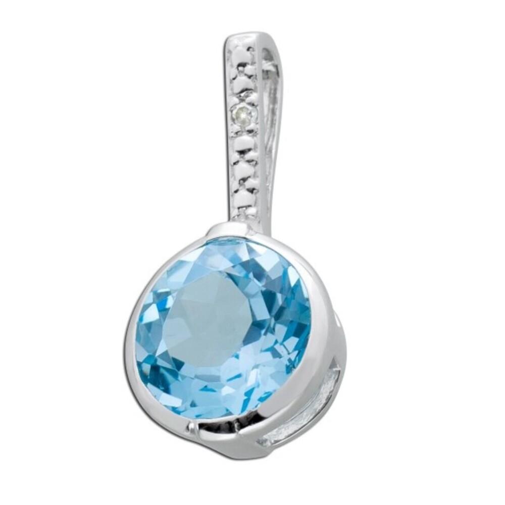 Edelsteinanhänger Blautopas Silber 925 weiße Zirkonia_01