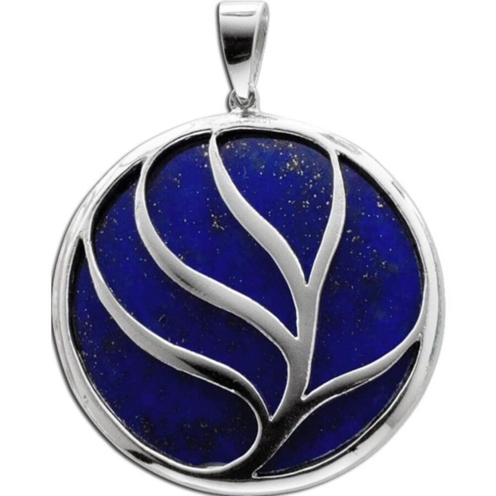 Anhänger Lebensbaum blauem Lapislazuli Silberanhänger Sterling Silber 925