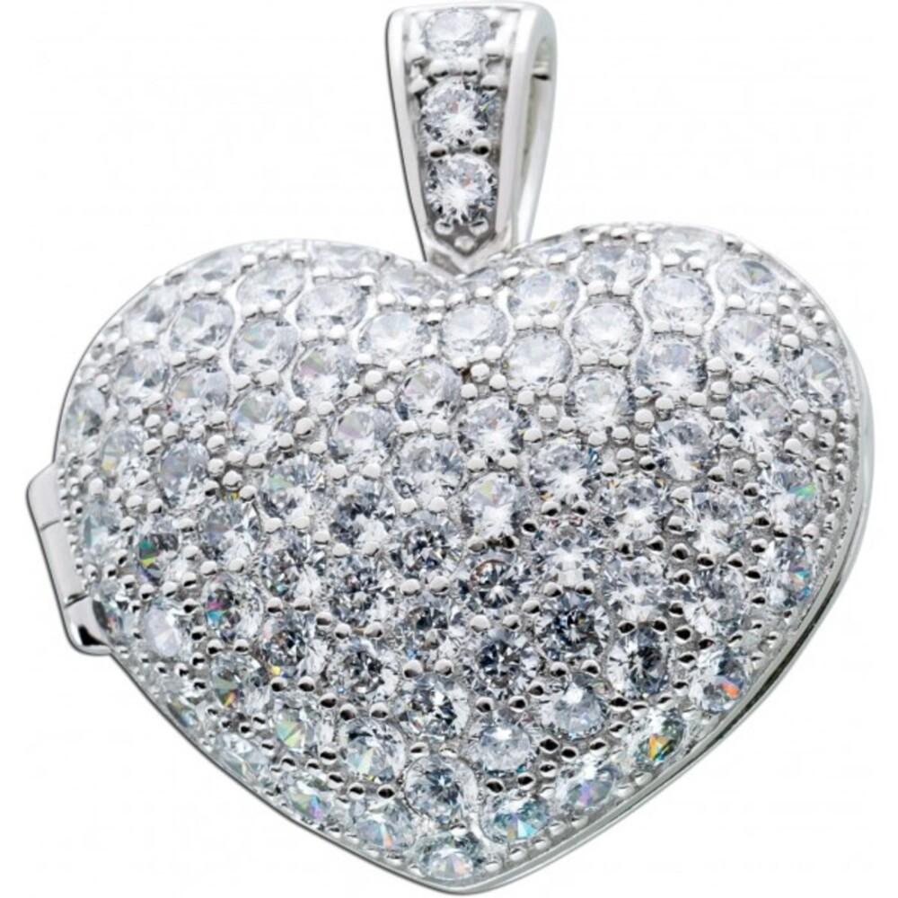Anhänger, Herz , Medaillon, Sterlingsilber, Silber 925/-, 84 Zirkonia_1