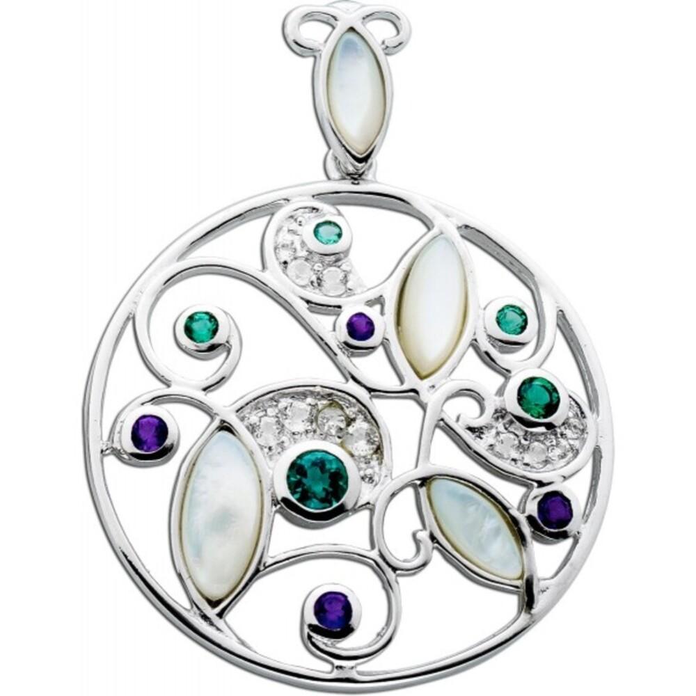 Multicolor Edelstein Kettenanhänger Silber 925 rund Grüner Quarz lila Amethyst cremefarbenes Perlmutt weisse Topase_01
