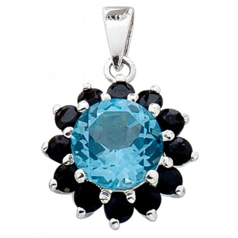 Nachtblauer Saphirenanhänger Sterling Silber 925  Blautopas_01