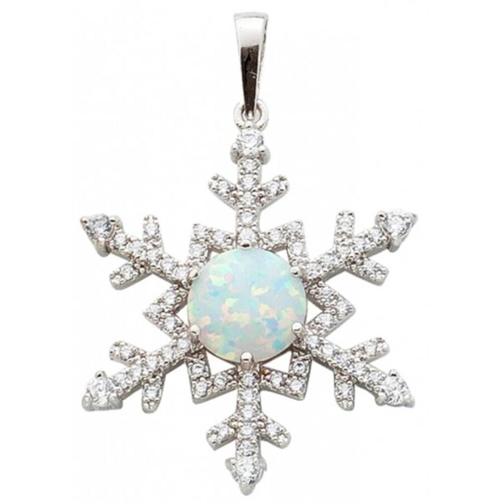 Opal Silberanhänger 925 Schneeflocke Zirkonia _01