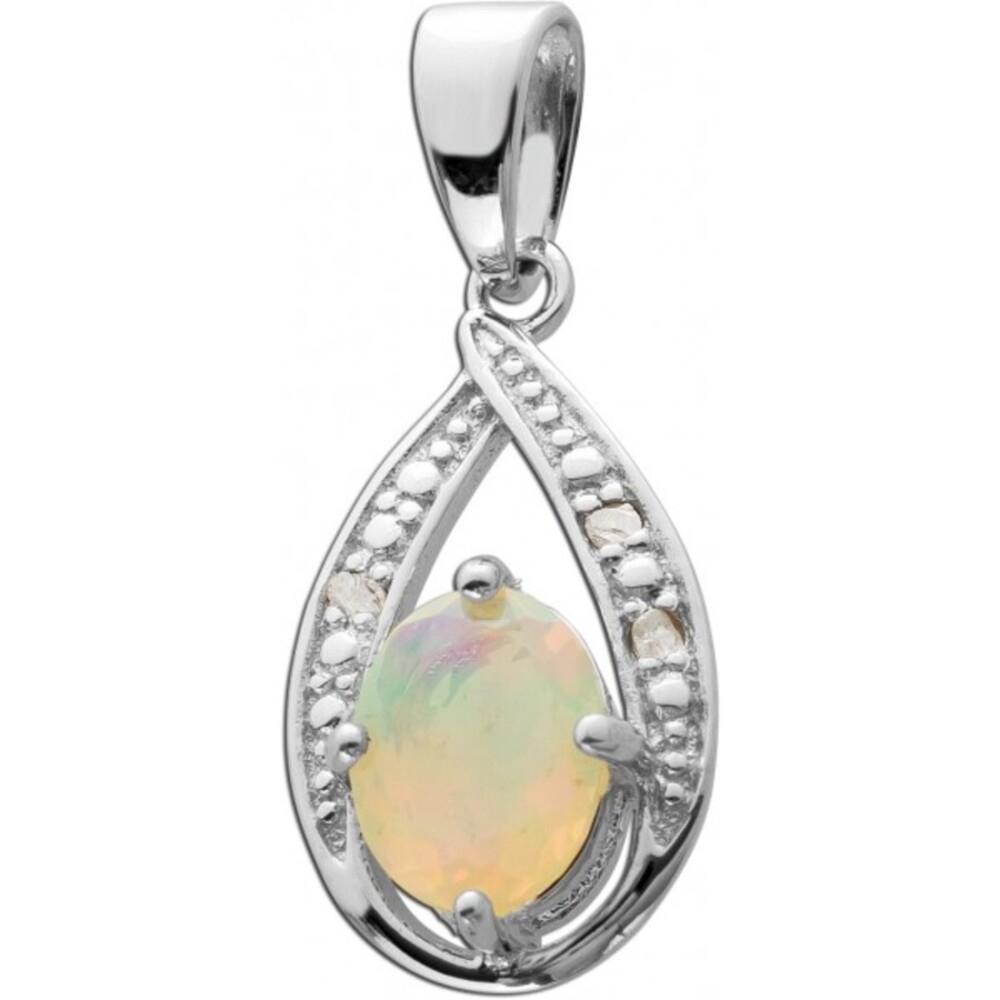 Opal Kettenanhänger Silber 925 weiße Diamanten blau gelber Opal_01