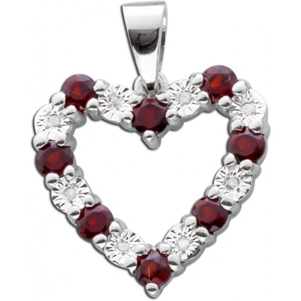 Granat Edelstein Kettenanhänger Herz Silber 925 Diamanten tiefrot_01
