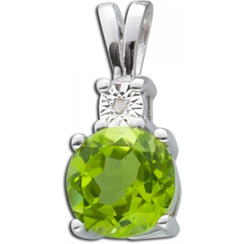 Grüner Edelstein Anhänger Silber 925 grüner Peridot weisser Diamant_01