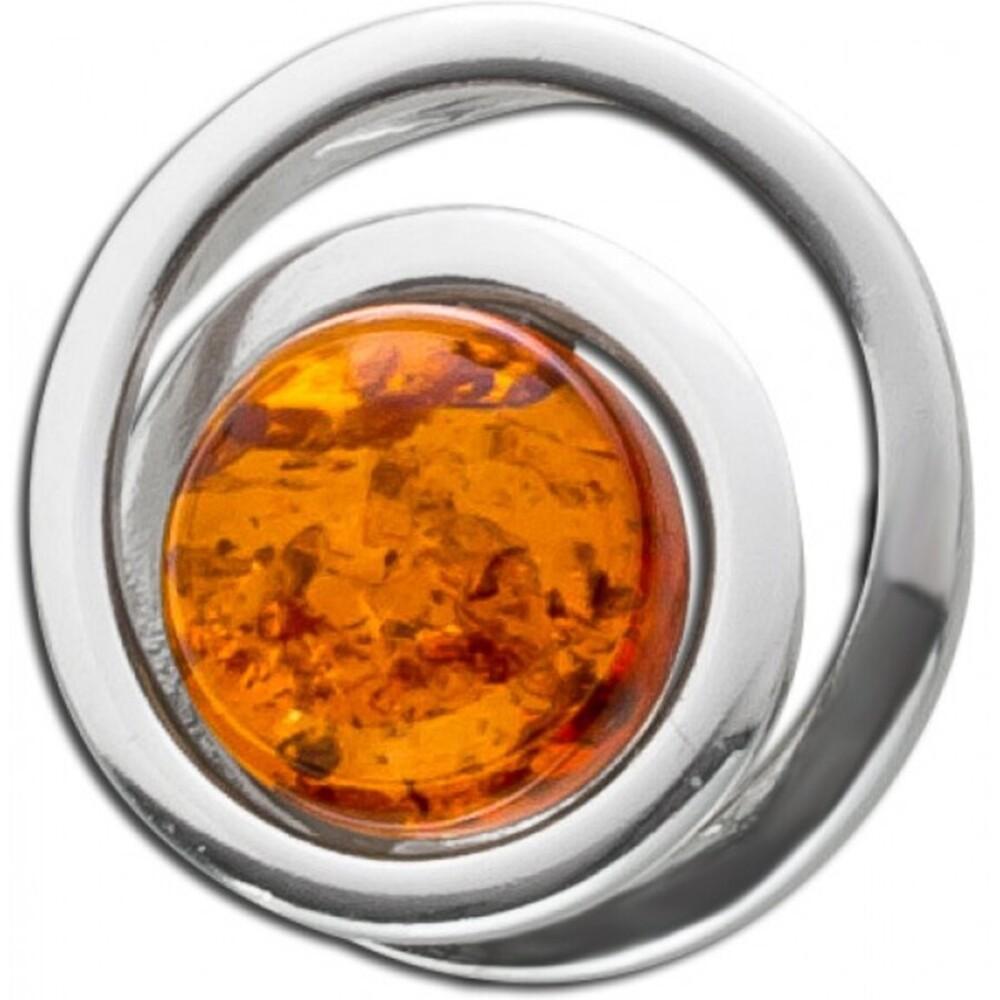 Bernstein Anhänger braun Orange Cognac Farben  rundSilber 925 14mm Natur Einschlüssen 1