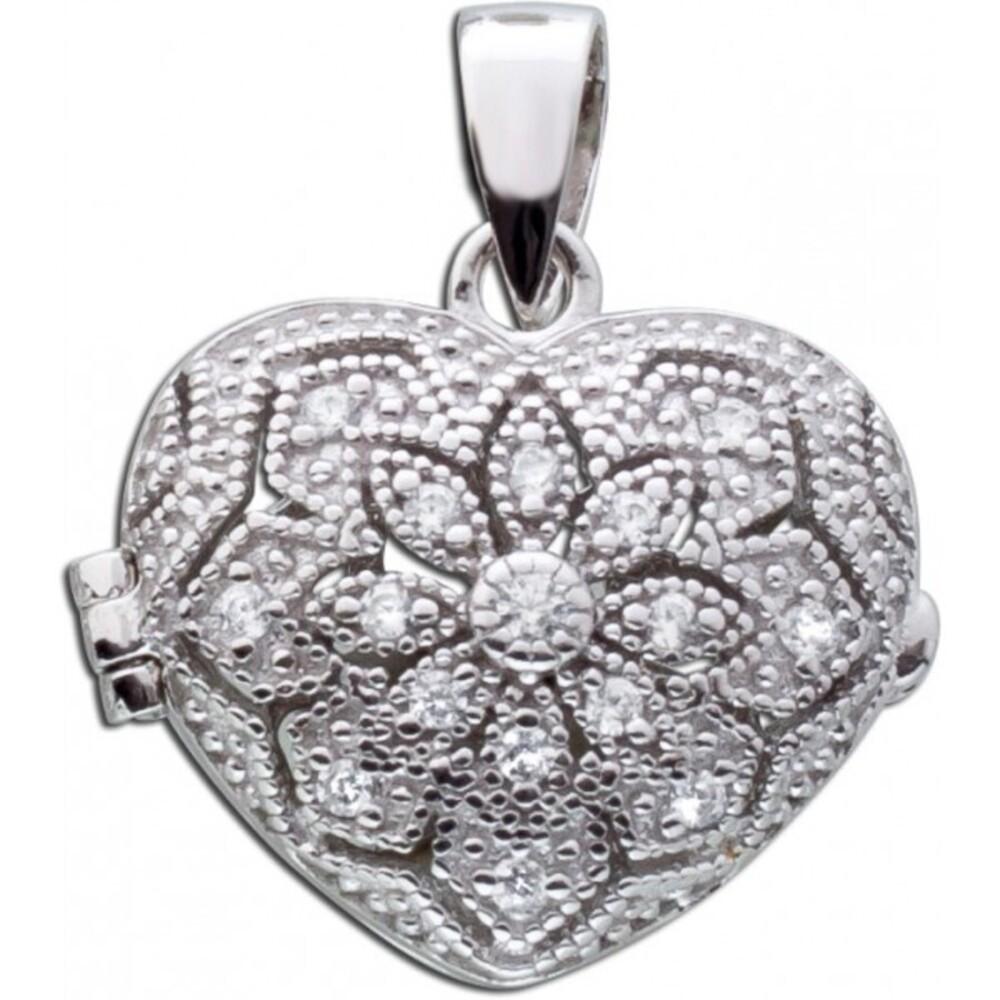 Ganz und zu Extrem Herz Medaillon Silber Anhänger weiße Zirkonia Sterling Silber 925 #WK_44
