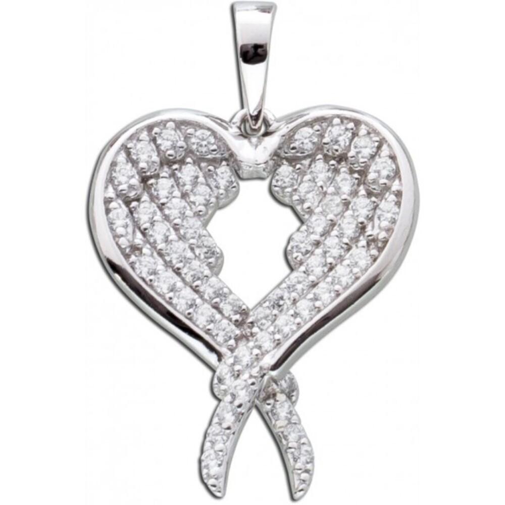 Flügel Herz Anhänger Silber Zirkonia Sterlingsilber 925 Damenschmuck3