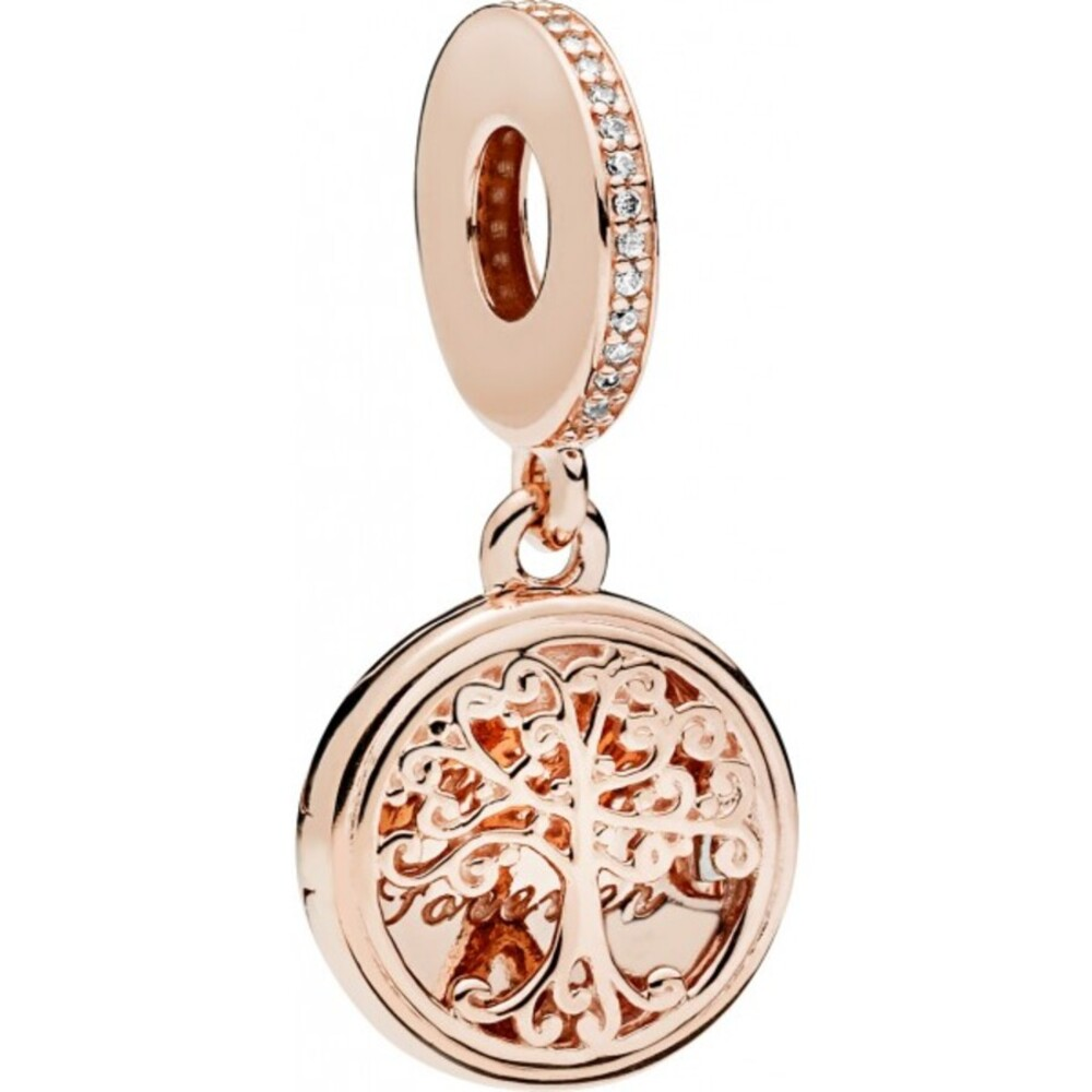PANDORA Charm Anhänger 781988CZ Family Roots Dangle PANDORA Rose Metall klarer Zirkonia zum Öffnen