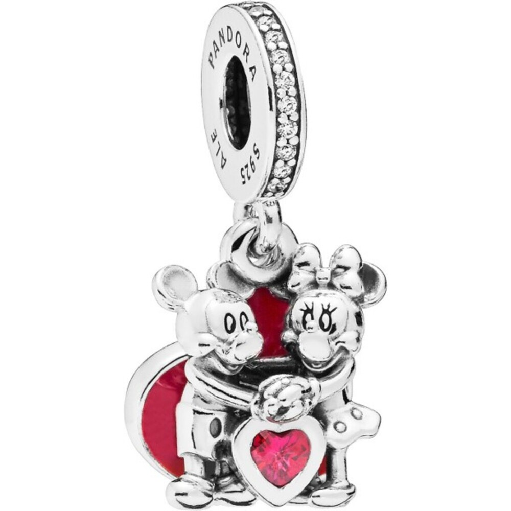 PANDORA DISNEY 797769CZR Charm Anhänger Minnie Mickey with Love Silber 925 rote klare Zirkonia rote Emaille