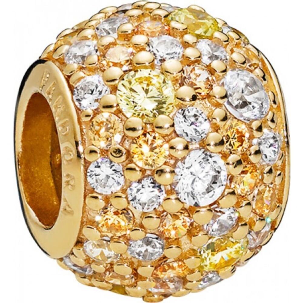 PANDORA Shine Charm 767052CSY Golden Mix Pave Ball Zirkonia Silber 925 vergoldet 18kt