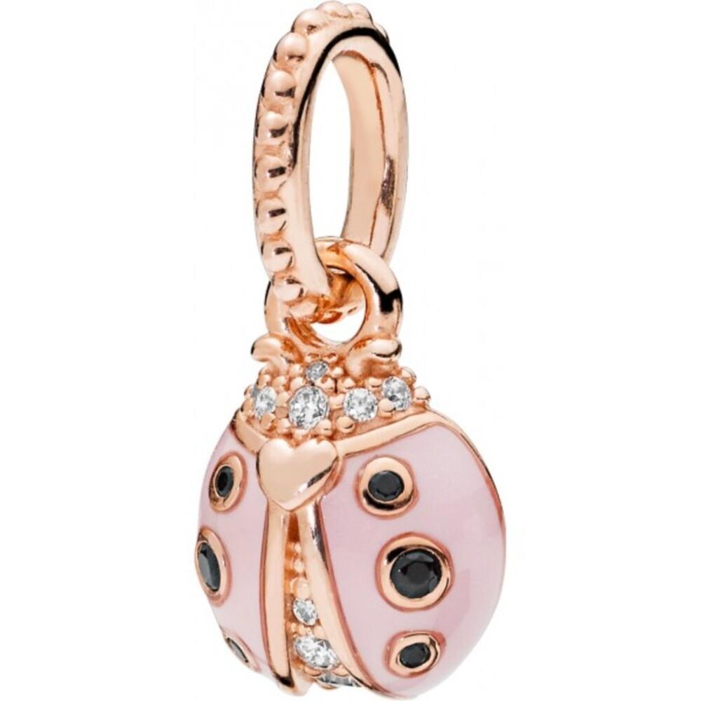 PANDORA Rose Anhänger 387909EN160 Lucky Pink Ladybird Marienkäfer