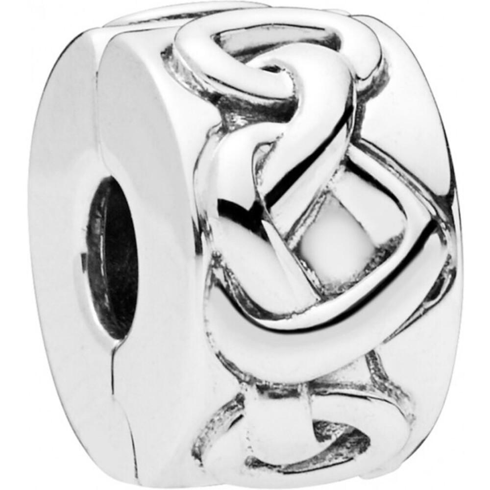 PANDORA Clip Charm 798035 Knotted Hearts Herzen Silber