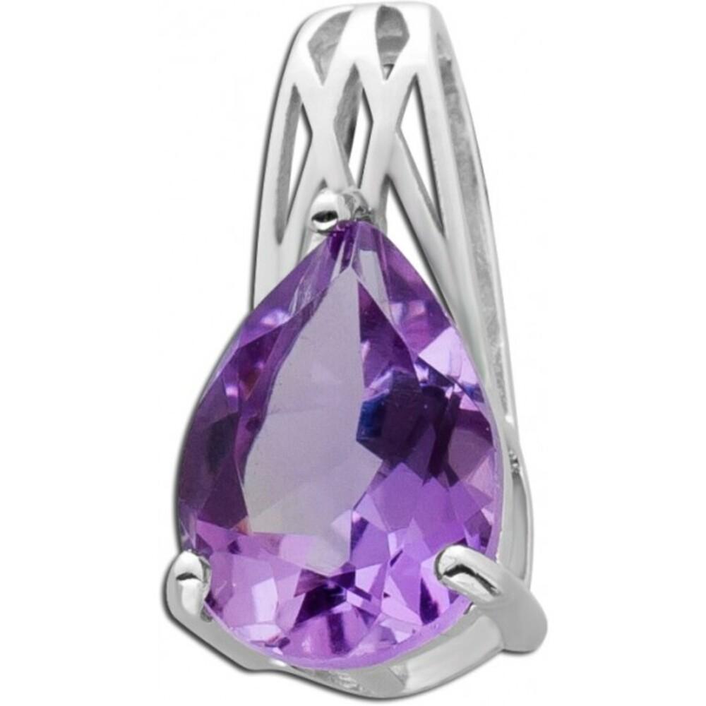 Amethyst Anhänger Silber 925 tropfenförmig violetter Edelstein Krappenfassung Damen