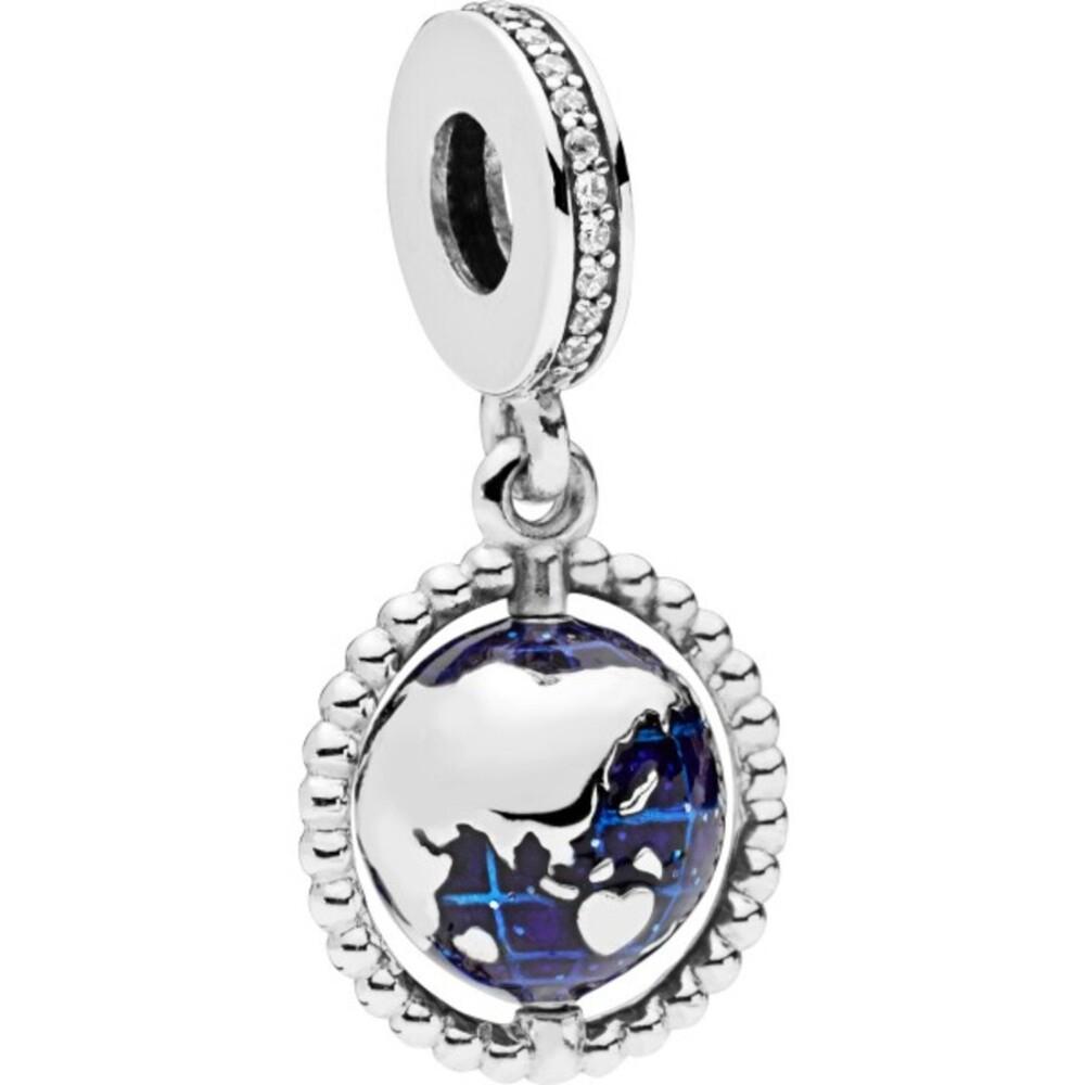 PANDORA Charm Anhänger 798021CZ Spinning Globe Zirkonia Silber blauer Emaille Globus 1
