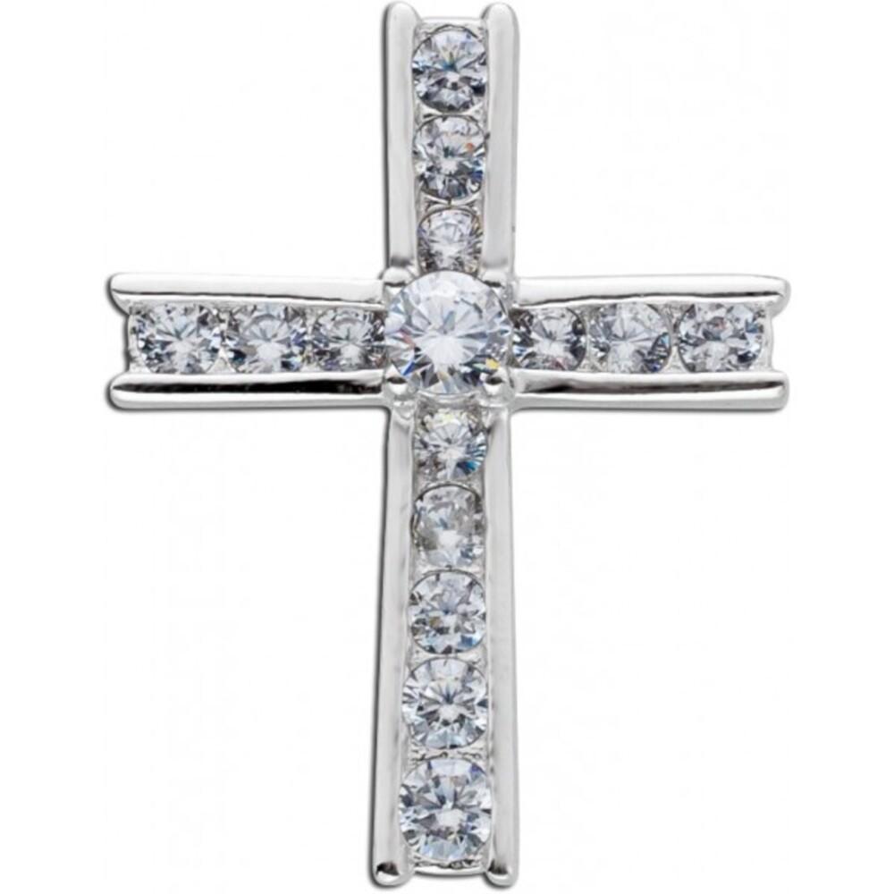 Weißer Zirkonia Anhänger Kreuz Silber 925 Damenschmuck