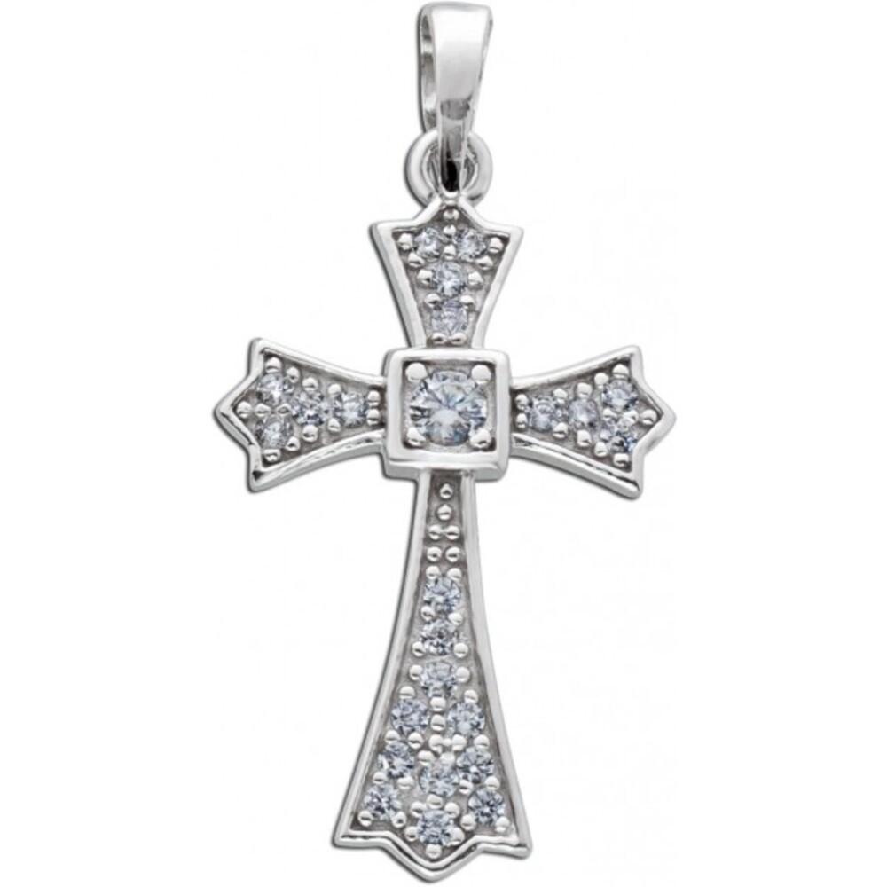 Weißer Kreuz Anhänger Silber 925/- Zirkonia Damenschmuck