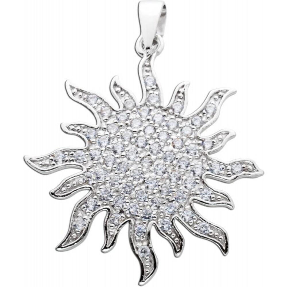 Sonnen förmiger Anhänger weißen Zirkonia Silber 925  Damenschmuck