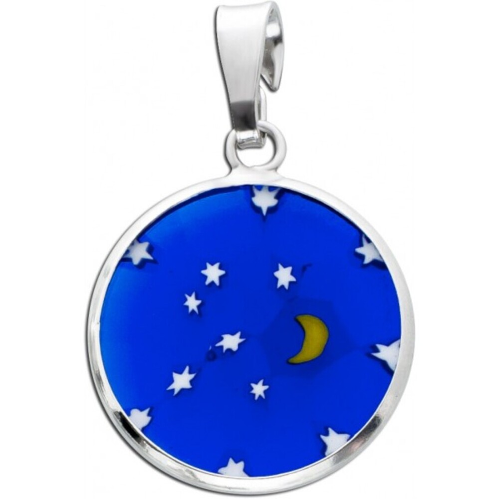 Mond Sterne Anhänger Silber 925 Murrinaglas Muranoglas