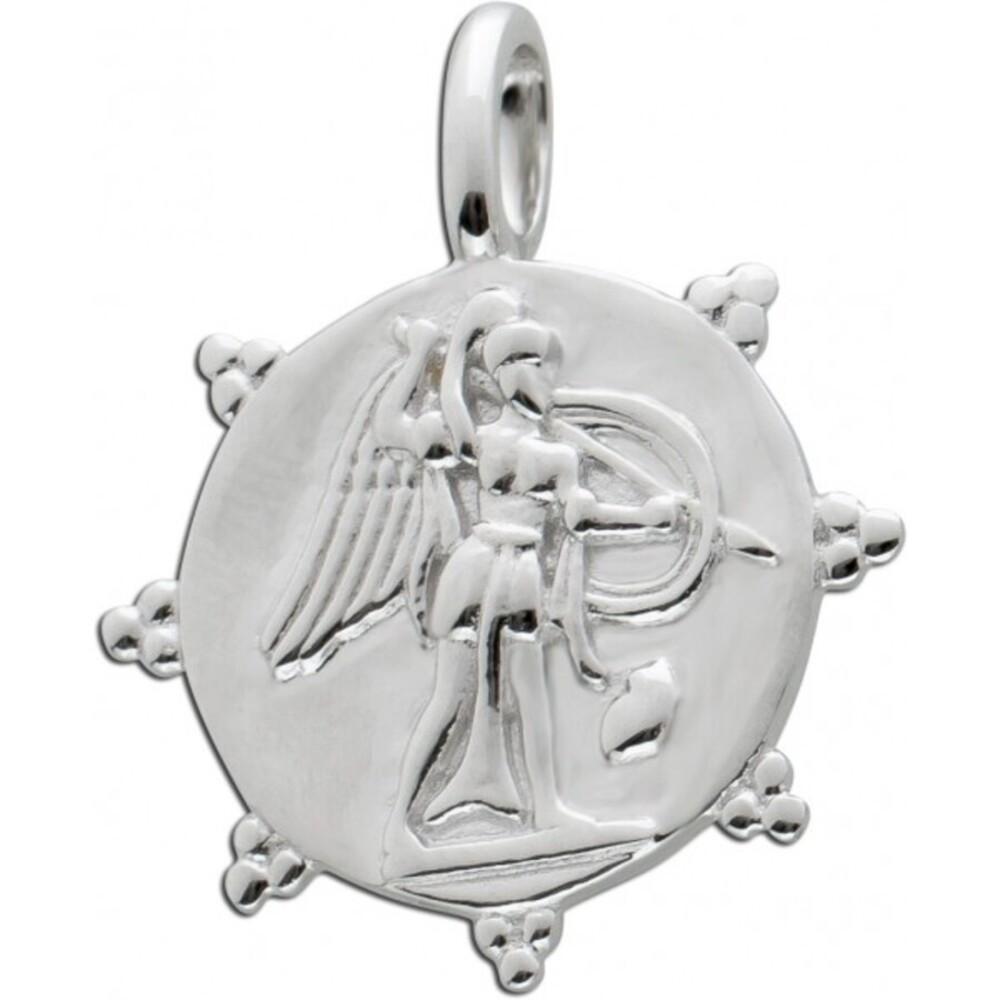 Münzanhänger rund Silber 925 Coin Anhänger Zacken 1