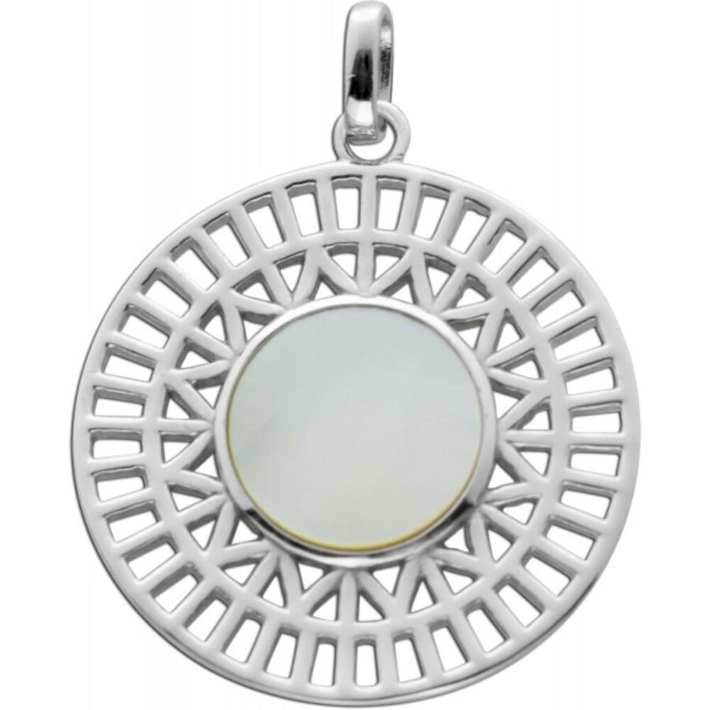 Edelstein Anhänger weißen Perlmutt Silber 925 Schmuck 1