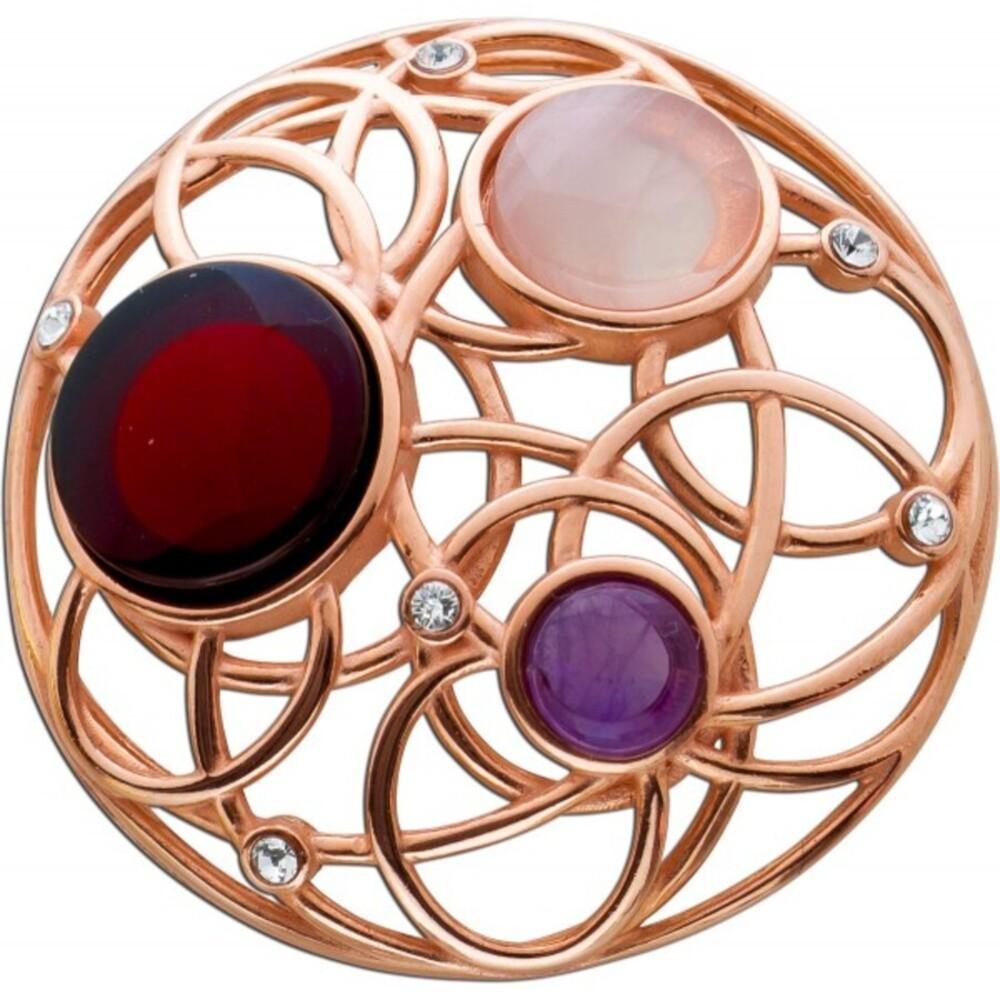 Edelstein Anhänger Silber 925/- rose vergoldet Cherry Bernstein Rosenquarz violetter Amethyst_0