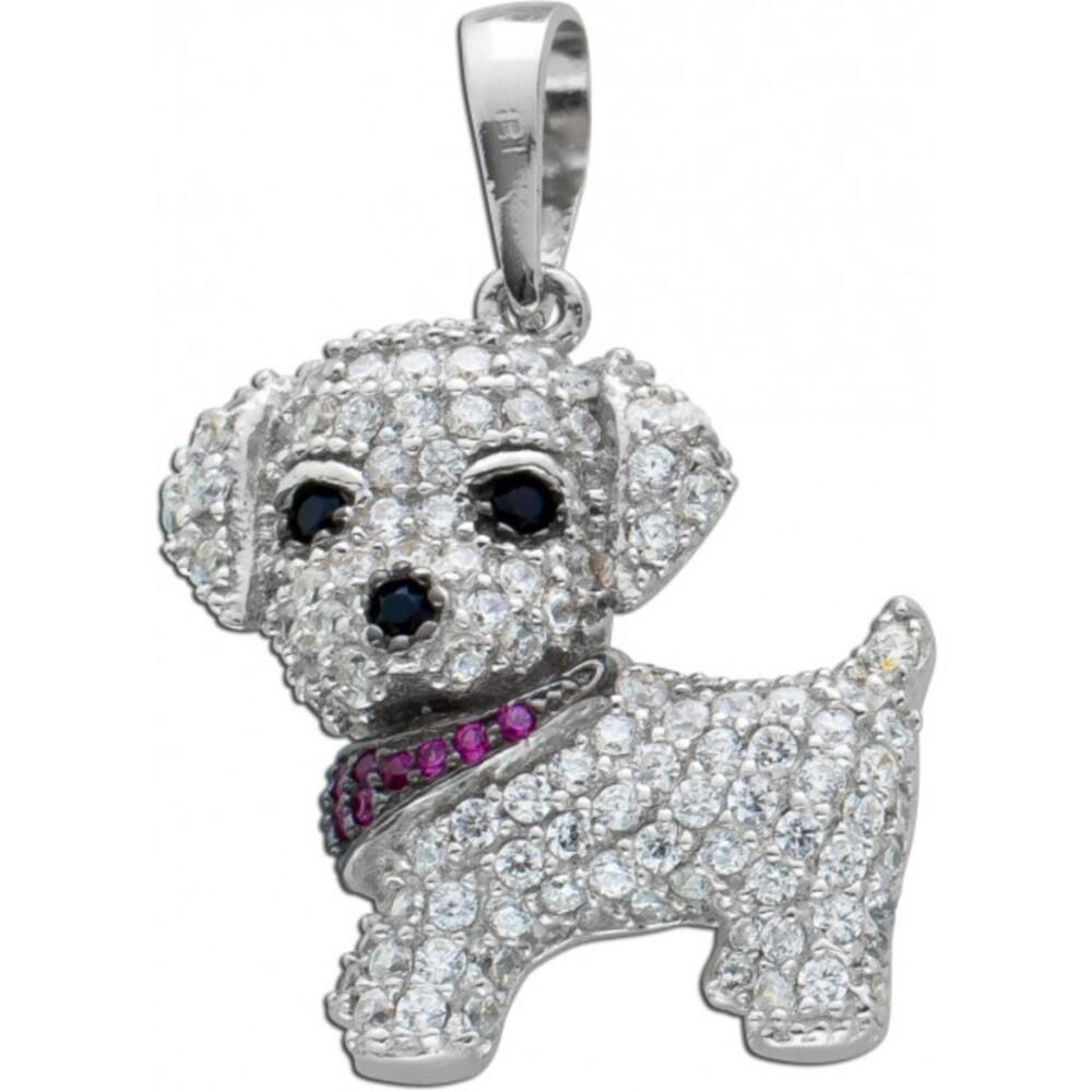 Hund Anhänger schwarz weiß rosa Zirkonia Silber 925  1